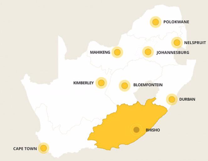 Kaart Oost-Kaap
