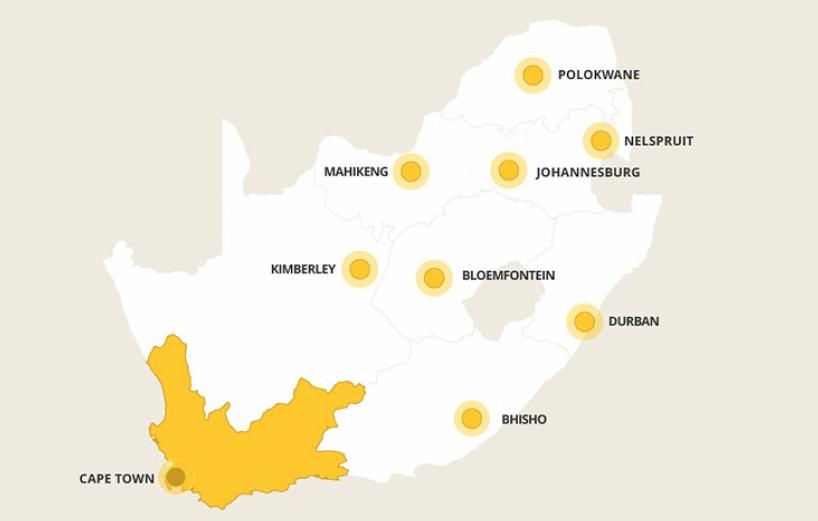 Kaart West-Kaap