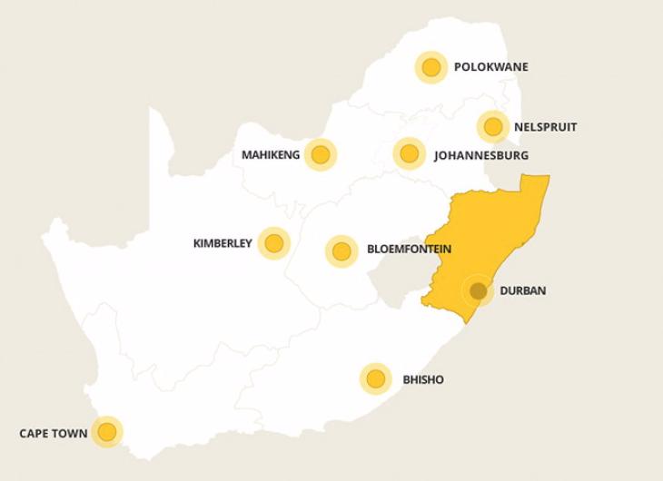 Kaart Kwazulu-Natal